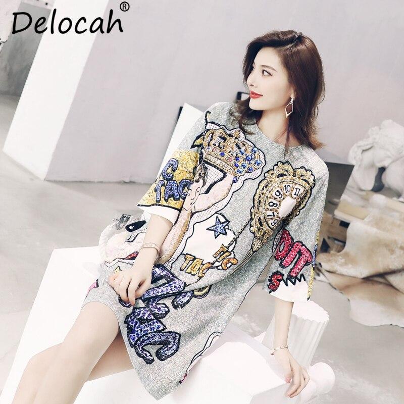 Delocah Autumn Women Dress Runway Fashion Designer Half Sleeve Gorgeous Beading Angel Letter Printed Mini Straight Dresses 3