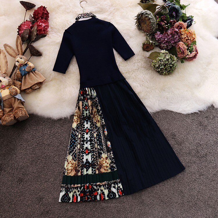 Trendy Women Round Collar with Scarf Decoration Patchwork Knotted Cotton Chiffon Pleated Half Sleeve Dress 2