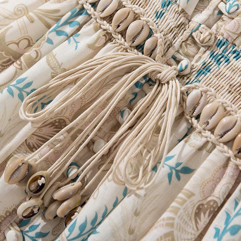 Women deep V-neck sexy bohemian dress half sleeve tassel sashes a-line summer casual dresses 19 3