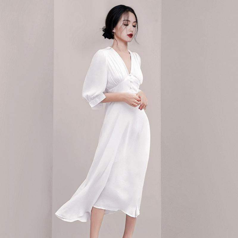 Fashion Women White Vestidos Summer Chiffon Half Sleeve Office Lady Long Dress Vintage Sexy V Neck High Waist Slim Party Dress 3