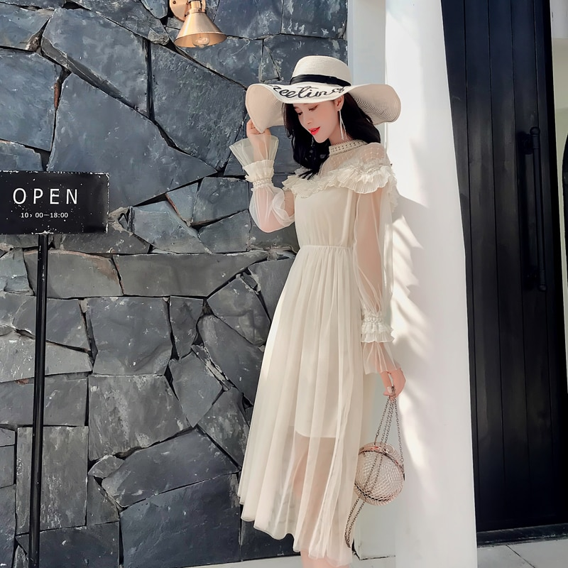 New 19 Spring Autumn Women dress Flare Sleeve Patchwork Mesh Turtleneck Half A High-end French Lace Dresses Blue Apricot 9086 3