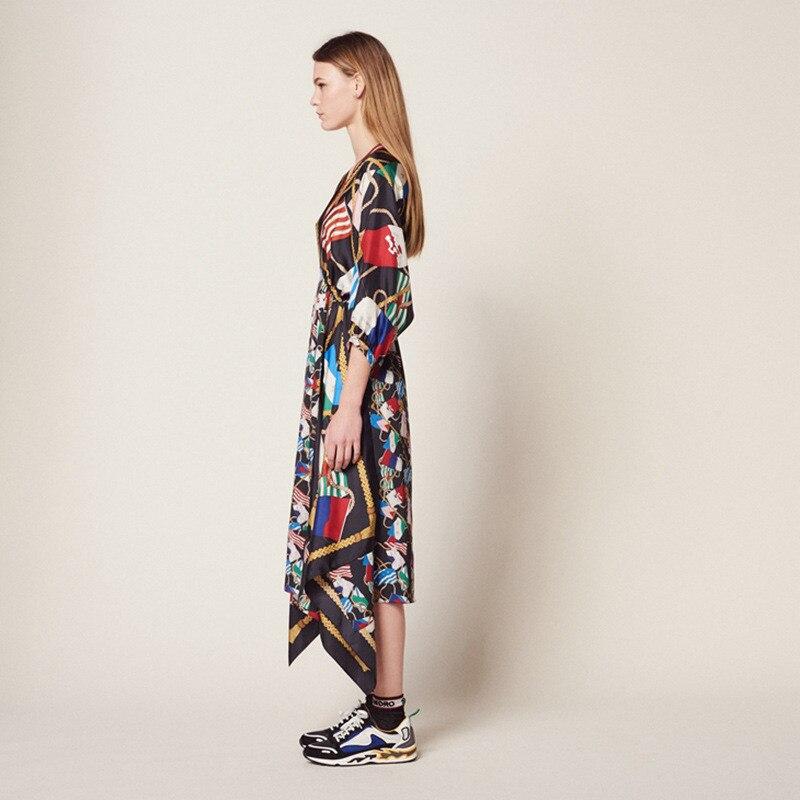 Summer Print Women's Holiday Dress Runway Irregular Sexy V Neck Half Sleeve Ladies Party Midi Dresses 19 Clothes 2