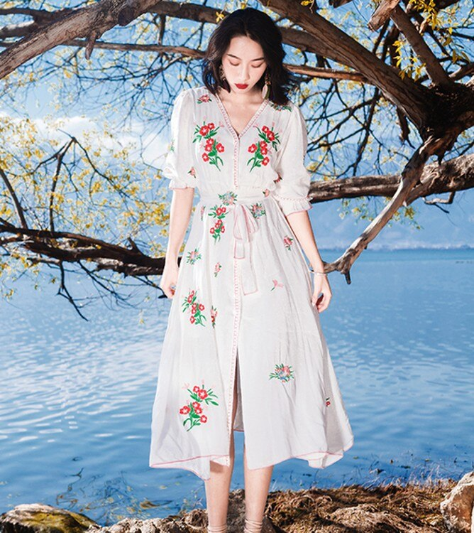 white cotton Embroidery Beach Dress 19 New Summer vintage Half Sleeve dresses Casual Holiday long dress 2