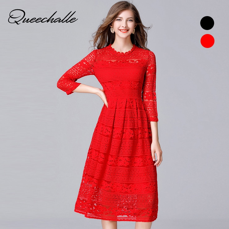 Queechalle Black Red Slim Lace Dresses for Women 19 Spring Hollow Out Half Sleeve Female Dress 3XL 4XL 5XL Plus Size Vestidos 1