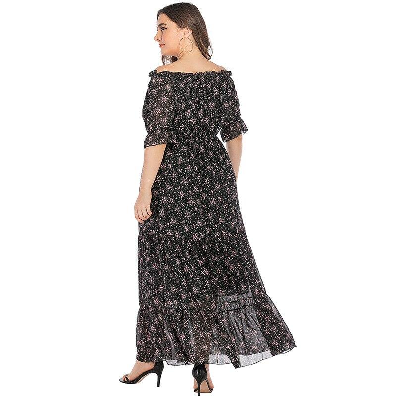 Large Size Office Ladies Slash Neck Floral Dress Half Sleeves Ruffles Stitching Maxi Dresses Woman Clothes TMZ7102 3