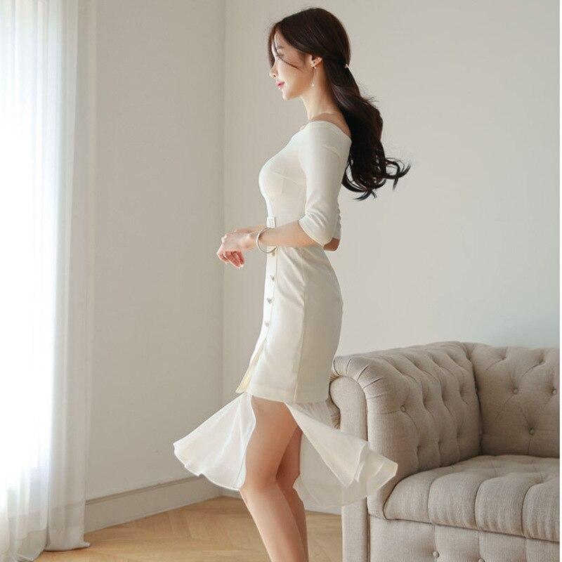 19 Summer Ruffles Casual Elegant Dress Slash Neck Chiffon Patchwork White Dress Women Half Sleeve Plus Size Dresses Ladies 3