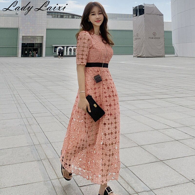 High Quality Runway pink Lace Dress 19 Autumn Women Half Sleeve O-Neck Hollow Out Crochet Slim Prom Office Party Long Dress 1