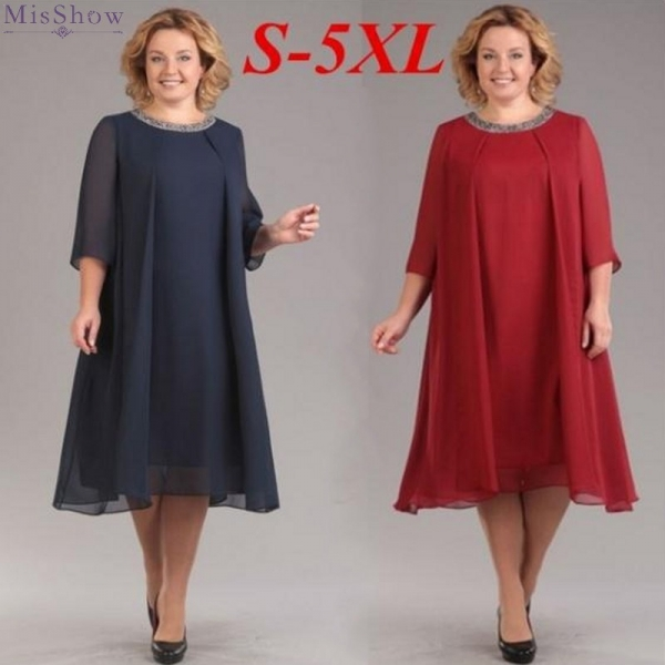 Summer Dress 19 Plus Size Women Dress Half Sleeve Chiffon Maxi Dress Elegant Ladies Party Midi Dress Robe femme
