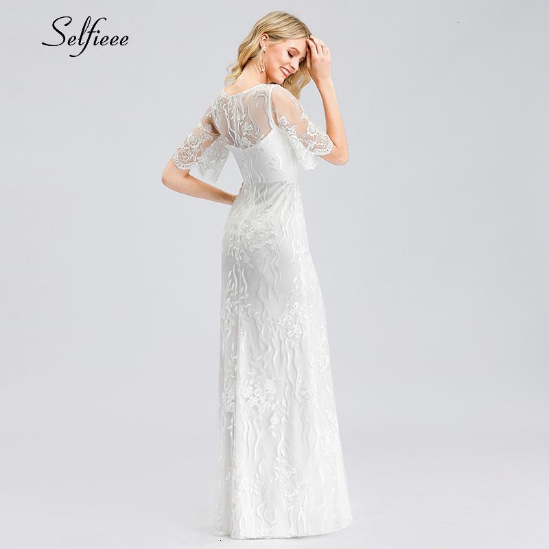Elegant White Lace Women Dress Mermaid O-Neck Half Sleeve Illusion Bodycon Dress Ladies Sexy Maxi Dress Vestido De Festa 19 2