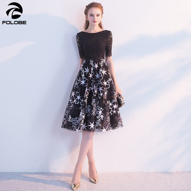 FOLOBE 19 new autumn fashion a line half sleeve black dress banquet party lace women dresses with embroidery stars 3