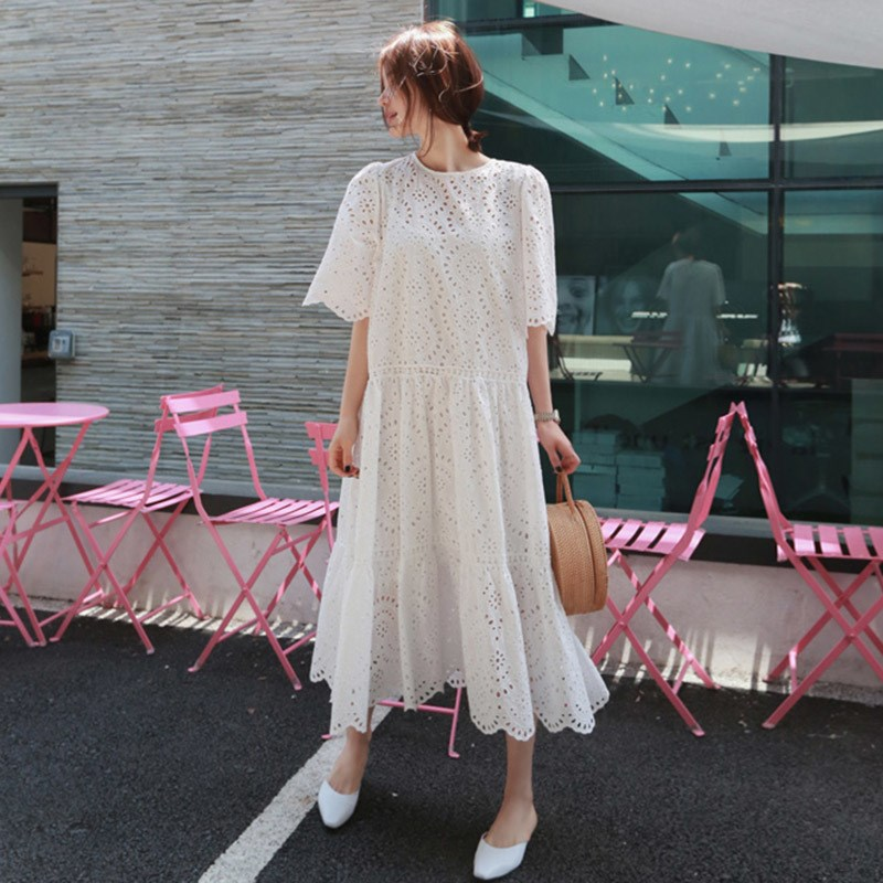 19 Summer Women Casual Half Sleeve Loose Dress Solid Oversize Big Hem Hollow Out Maxi Dresses Elegant White Long Dress 3