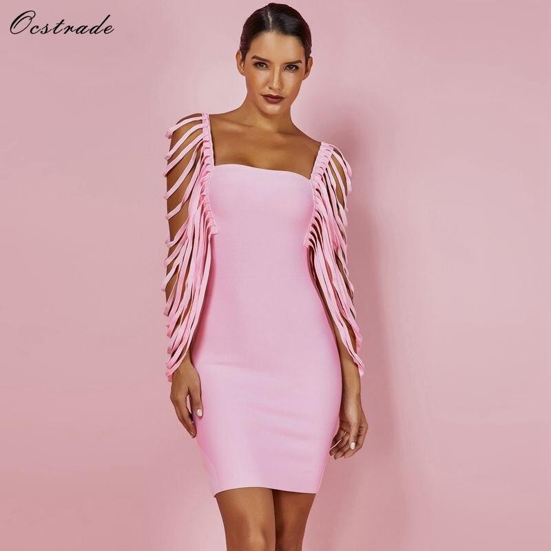 Sexy Women Dress Bandage Bodycon 19 New Summer Pink Fringe Detailed Cap Sleeve Woman Bandage Party Mini Dress XL 1