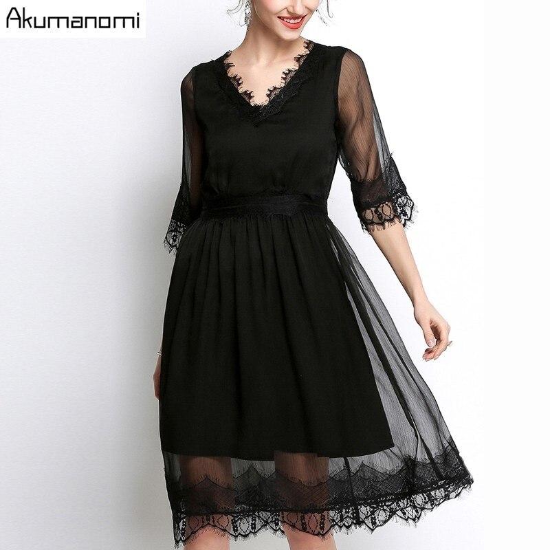 Summer Chiffon Dress Women Clothing Eyelash Lace V-neck Half Sleeve Wave Hem Dress High Quality Plus Size 5XL 4XL 3XL 2XL XL L M 1
