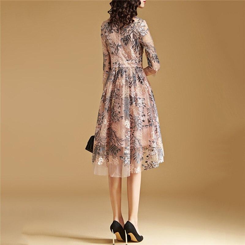 Lace Dress Pink S-2XL 19 New Spring Korean High Waist Slim A Line Dress Embroidery Mesh Half Sleeve Party Dress Vestidos CX816 2