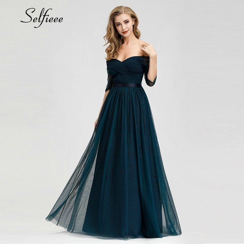 Elegant Long Women Dresses A-Line Solid Color Half Sleeve V-Neck Ladies Summer Maxi Dresses 19 Vestidos De Fiesta De Noche 1