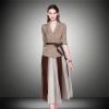 2pcs/set Women Fashion Half Sleeves Patchwork Winter Dresses Ladies Slim Blazers with Inside Mesh Dress Clothes Set