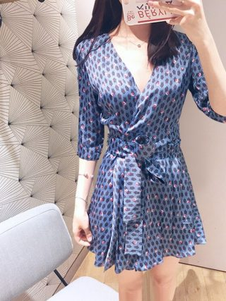 Women Blue Flower Print V Neck Wrap Dress Half Sleeve Mini Dress With Belt