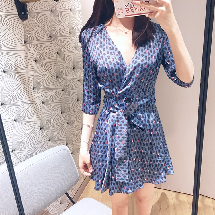 Women Blue Flower Print V Neck Wrap Dress Half Sleeve Mini Dress With Belt