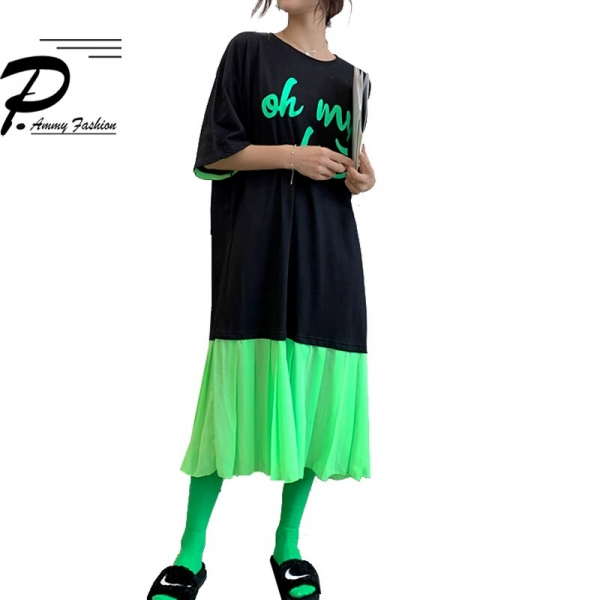 Large size 19 New summer Chiffon stitching Mid-Long Loose Cotton casual dress Korean Half sleeve dress women fashion plus size