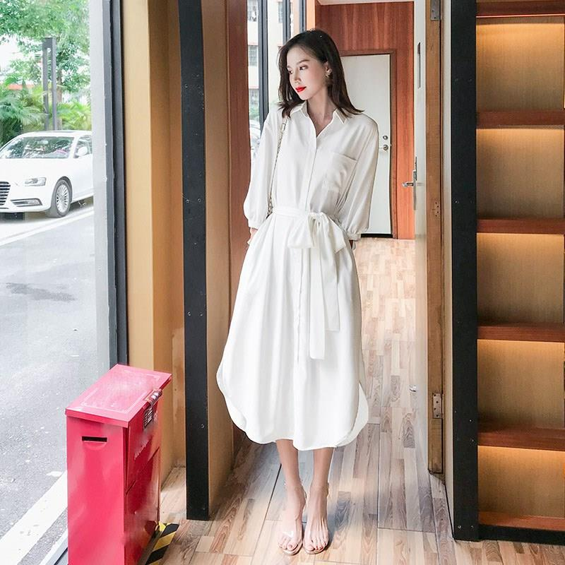 19 Fall Women Solid Turn-Down Collar Shirts Dresses A-Line Casual Pocket With Belt Loose Dress Half Sleeve Midi Dress 2