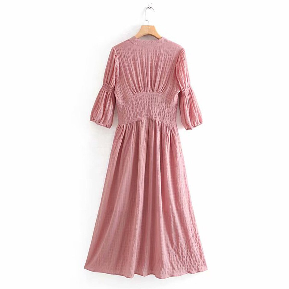 Women Summer Vintage Solid Dress Half Sleeve Buttons High Waist V-Neck Dresses Female Elegant A-Line Dress vestidos Clothing 2