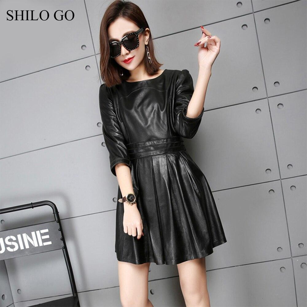 SHILO GO Leather Dress Womens Spring Fashion sheepskin genuine leather dress O Neck half sleeve office lady pleated dress 1