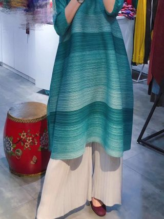 FREE SHIPPING Miyake pressure plait gradients show thin stripe dress irregular fold dress with half sleeves dress IN STOCK