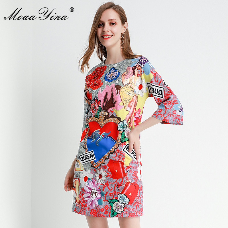 MoaaYina Fashion Designer dress Spring Summer Women's Dress Half sleeve Crystal Beading Floral-Print Dresses