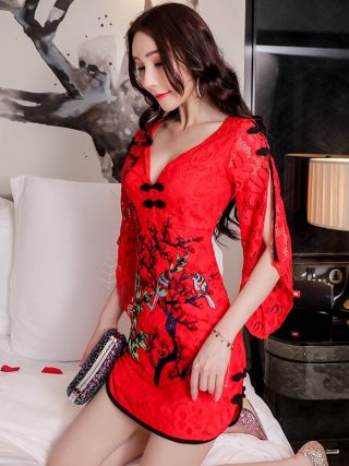 19 New Sexy Slim Modified Cheongsam Dress Chinese Style Nightclub Women's V-neck Half Sleeve Japanese Women Harajuku Dress