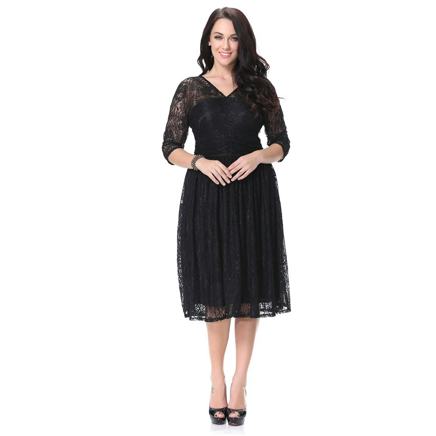 Women Spring Autumn Dress V Neck Half Sleeve Black Lace Dress Big Size 7XL Ball Gown Elegant Evening Club Party Dress 2