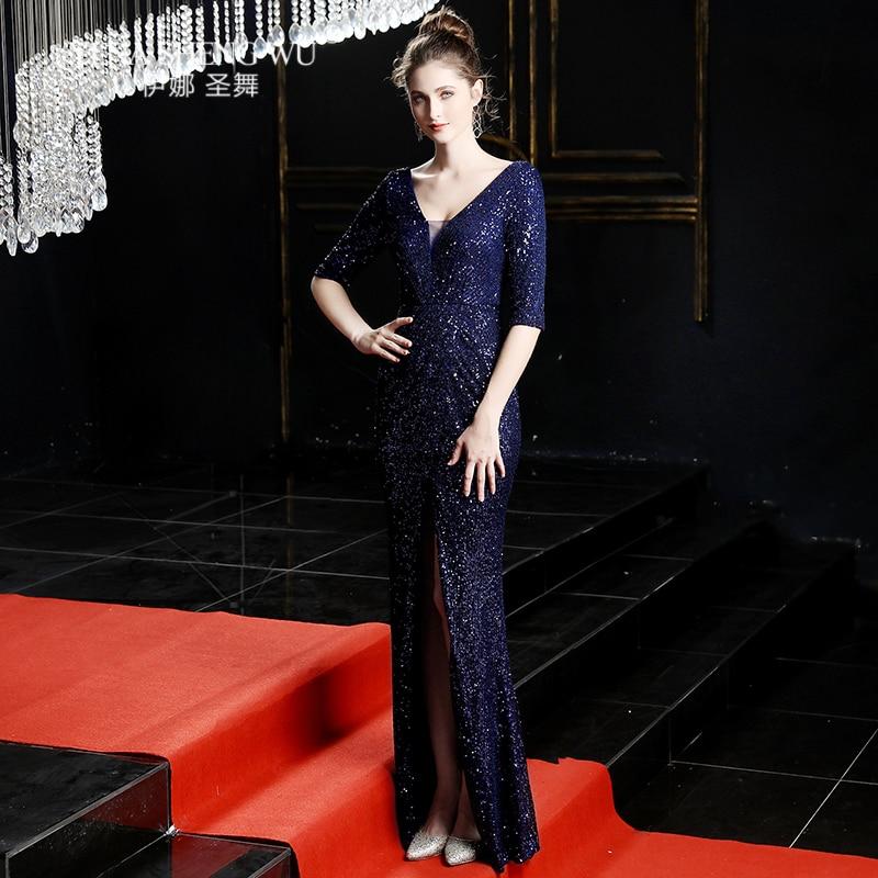 Evening Long Dress Sequins Shining V-neck Half Sleeve Formal Dress Women Floor-length Long Party Gowns Robe De Soiree New 2