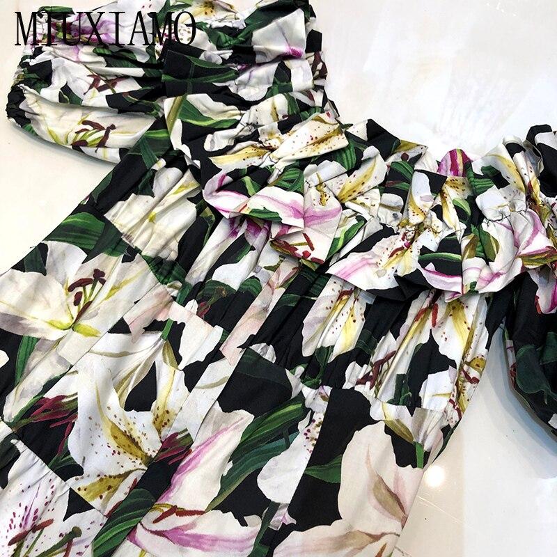 MIUXIMAO Top Quality 19 Fall Dress Lily Flower Ptint Half Sleeve Dress Ruffles Eleghant Cotton Casual Dress Women Vestidos 3