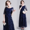 Mesh Half Sleeve Long Maxi Dress Party Special Occasion Embroidery Mesh Half Sleeve Long Maxi Dress Women Spring Summer Prom Evening Party Special Occasion Wear Dresses Female