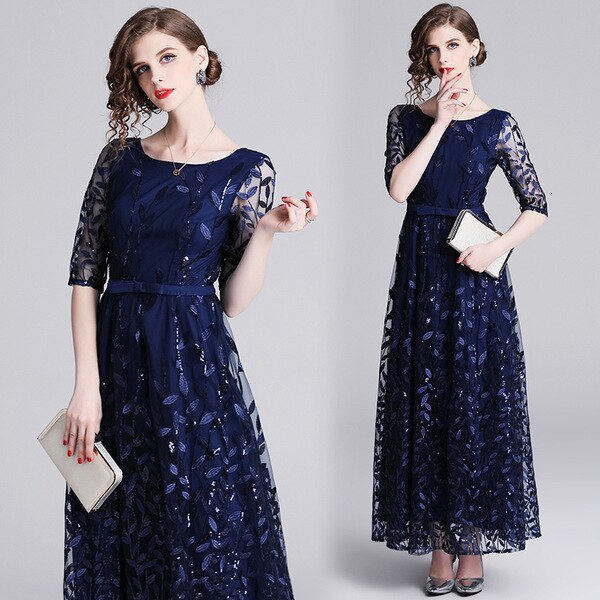 Embroidery Mesh Half Sleeve Long Maxi Dress Women  Spring Summer Prom Evening Party Special Occasion Wear Dresses Female 2