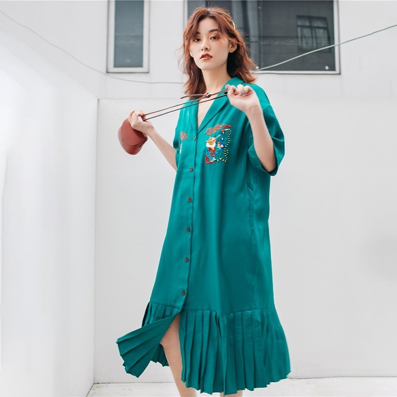 GALCAUR Summer Embroidery Women Dress Lapel Half Sleeve Oversized Button Pleated Shirt Dresses Female Fashion 19 Korean 3