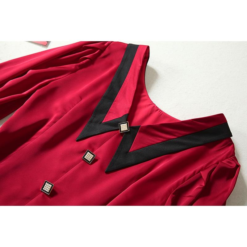 HIGH QUALITY Newest 19 Runway Dress Women's Half Sleeve Peter Pan Collar Button Dress 3