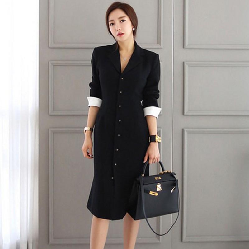 19 Runway Autumn Women straight knee-length Casual half sleeve dress slim office lady Work Wear Slim Button dresses Vestidos 3