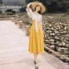 YOSIMI 19 Summer Slash Neck Off The Shoulder Long Women Dress Half Sleeve Party Dresses Print Dot Elegant Fake Set Mid-Calf