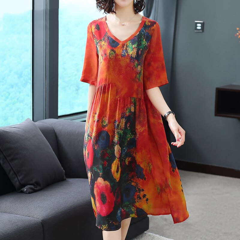 Plus Size Women Dresses Real Silk Clothes Loose Women Print Dresses New Pattern Half Sleeves Dress Lady Beach Casual Costume 3