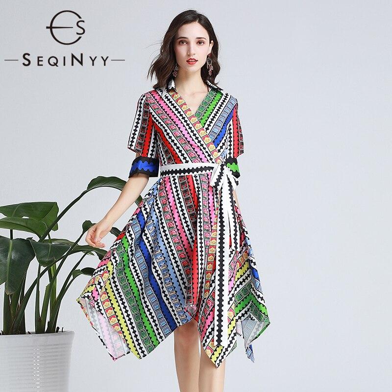 SEQINYY Fashion Dress 19 Summer New Fashion Design Half Sleeve Colorful Flowers Plaid Printed Midi Dress Women
