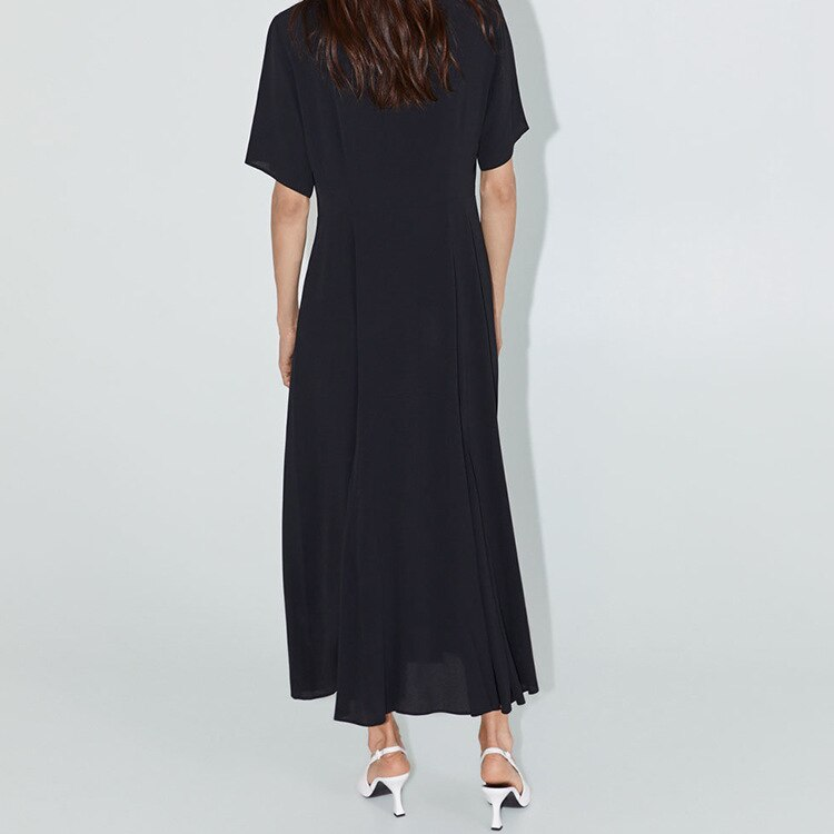 19 Dress Womens Summer Fashion Concise Casual Turn-down collar half Sleeve dress single breasted A Line black long dress 3