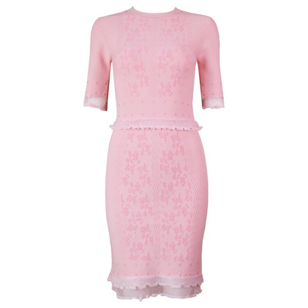 TOP Quality Vestidos Women Summer Dress Sexy Half Sleeve Jacquard Pink Bandage Dress Elegant Party Dress