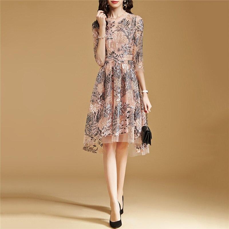 Lace Dress Pink S-2XL 19 New Spring Korean High Waist Slim A Line Dress Embroidery Mesh Half Sleeve Party Dress Vestidos CX816 3