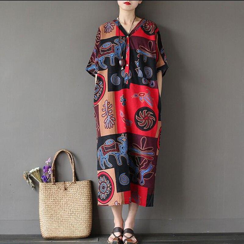 Women Summer Dress 17 New Fashion Women Dress Robes Print Flower Dress V-Neck Half Sleeve Loose Casual Plus Size Dress 2
