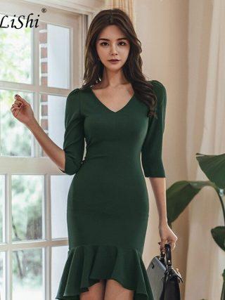 Plus Size Asymmetrical Mermaid Dress 18 Women Autumn Green Half Sleeve V-neck Knee-length Sexy Party Dress Office Club Dresses