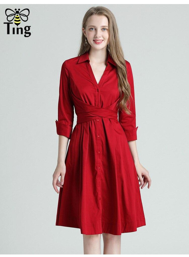 Tingfly Casual Summer Women Knee Length Shirt Dress Vintage Half Sleeve Elegant Office Work Dresses Streetwear Vestidos Plus 3