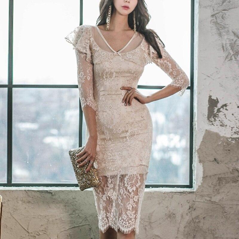 WAVSIYIER women half sleeve dress female korean sexy party club lace dresses high waist pencil dress midi runway elegant vestido 1