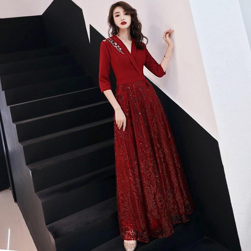 19 New Autumn Winter Dress Half Sleeve Temperament Red Dress Female Sexy V-neck Shoulder Embroidery Women Dress Sequin Dress 2