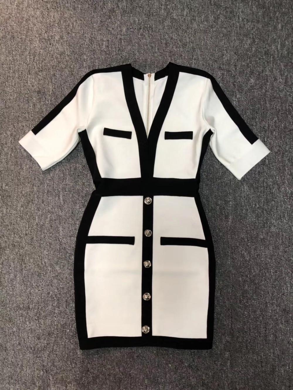 Women Sexy V Neck Half Sleeve Bandage Dress 19 Ladies Elegant Designer Bodycon Bandage Dress 2