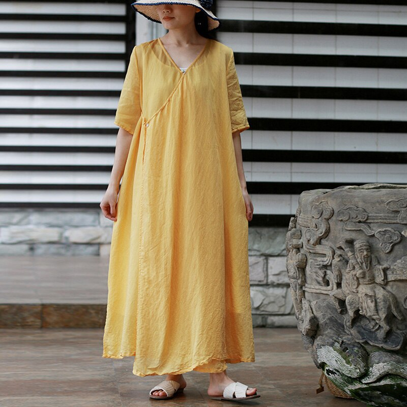 New Fashion Style Casual V-neck Solid Women Dress Summer Loose Embroidery Half Sleeve Long Female Dress 1